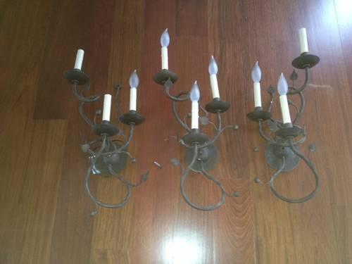 Set of Three Wall Sconces
