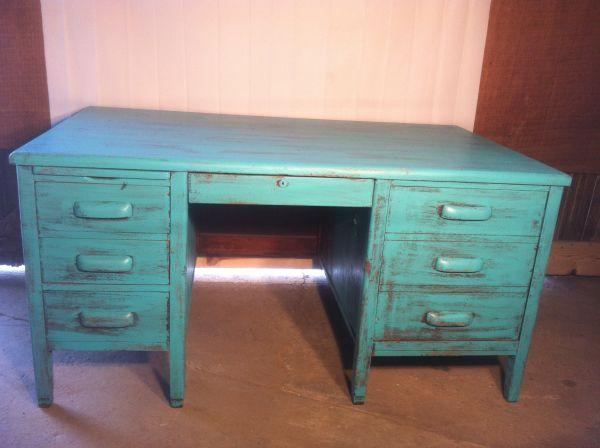 Shabby Chic Dark Teal Vintage Desk Fay Nc For Sale In