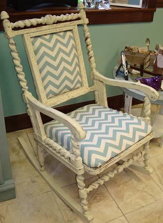 Shabby Chic Rocking Chair Cream And Chevron Rocker For