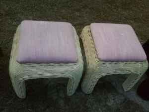 Shabby-Chic wicker bench/tables 2 - (Parkton) for Sale in ...