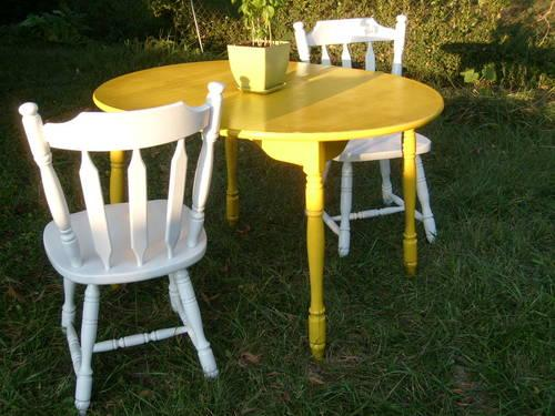 Shabby Chic Yellow And White Dining Room Table And Chair