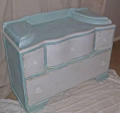 Shabby Cottage Aqua Blue & White Dresser / Vanity