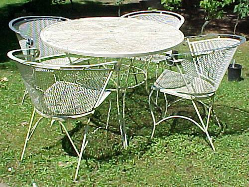 Shabby vintage 5 pc white wrought iron patio set for sale for Metal patio sets for sale