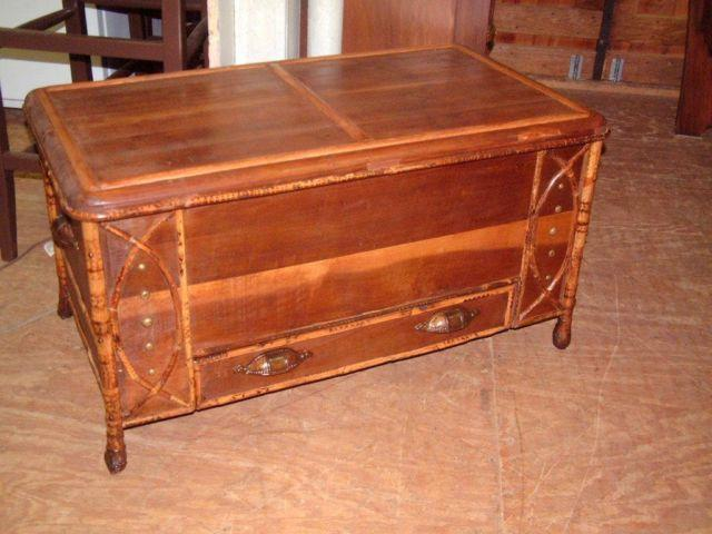 Shabby Vintage Carved Chest Coffee Table Storage Chest