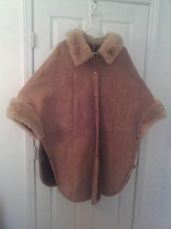Sheepskin Coat Poncho Cape Fur Leather Jacket Overland