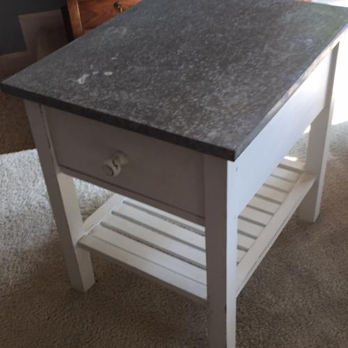 Sheet Metal Table Top Side Table with Drawer and S