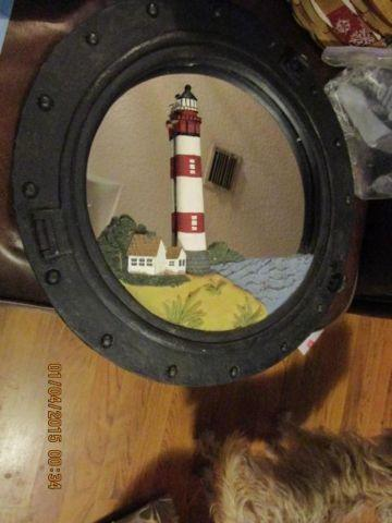 Ship Porthole Lighthouse Mirror 14 Round Wall Hanging Sailing Beach D