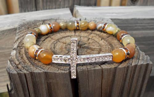 Sideways Cross Connector Bracelet - Newly Handmade - Nice Agate Beads