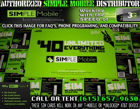 SIMPLE MOBILE SIM CARDS (Unlimited Everything On Your T
