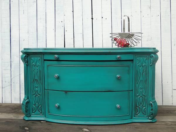 small chest of drawers bench seat tv stand in turquoise and red for sale in congress lake. Black Bedroom Furniture Sets. Home Design Ideas
