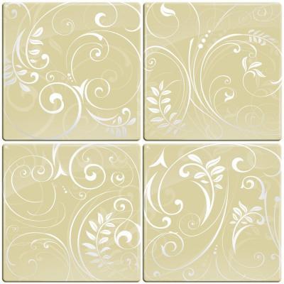Smart Tiles 3-1116 in. x 3-1116 in. Green Peel and Stick Paris Motif Tiles 4-Pack