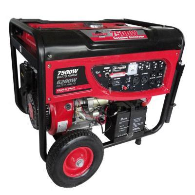 Smarter Tools GP7500EB, 6,200 Continuous Watts, Gasoline Powered Portable Generator with Electric Start, Battery and No Flat Wheels