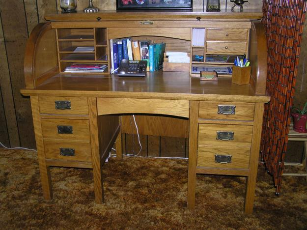Smith Solid Oak Roll Top Desk