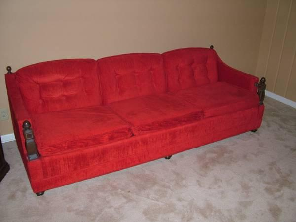 Sofa/Couch,Vintage Red Sofa,MID Century 70\'s Sofa// Make ...