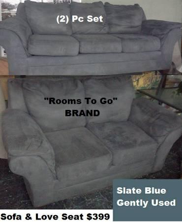Sofa & Love Seat Slate Blue Gently Used