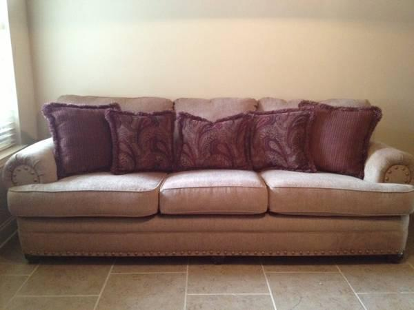 Sofa New Tan Color With Nail Heads 106 Long For Sale In Tuscaloosa Alabama Classified