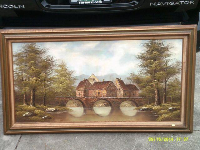 Sofa Size Oil Painting Villiage Next To A River Very