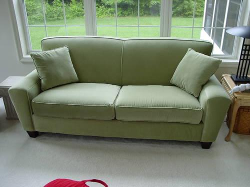 Soft Sage Green Microfiber Sofa Matching Loveseat By Kevin Charles For Sale In Fort Pierce