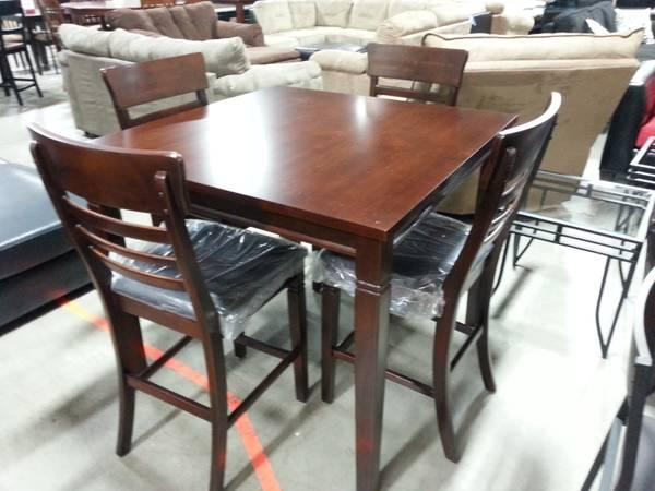 Solid ALL WOOD Pub Table W Leather Padded Chairs For Sale In Round Hill V