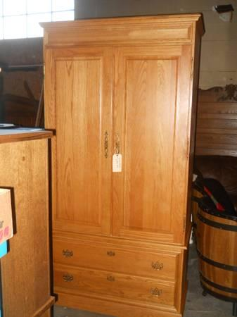 SOLID OAK ARMOIRE WITH DRAWERS AND MIRROR