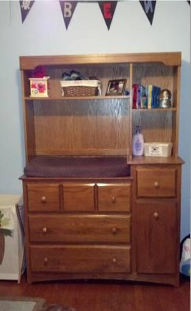 Solid oak changing table dresser w hutch for sale in marengo