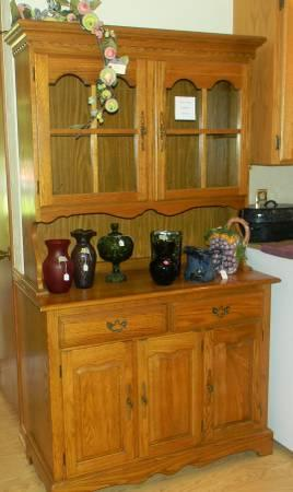 Solid Oak China Cabinet - $250