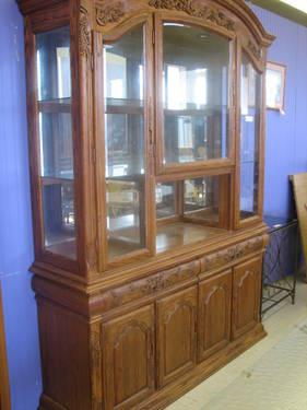 Solid Oak China Display Cabinet For Sale In Fort Wayne