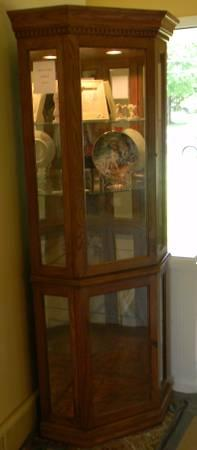 Solid Oak Corner Curio Cabinet - $250