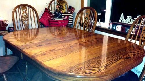 Solid Oak Dining Table W 8 Chairs