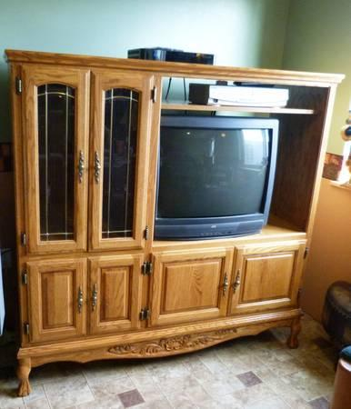 solid oak entertainment center unit with glass doors wall units makeover