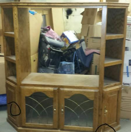 solid oak entertainment center reduced