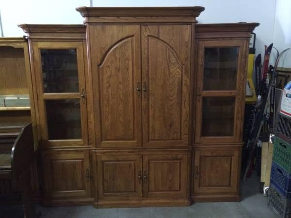 Solid Oak Entertainment Center W Curio Cabinets For