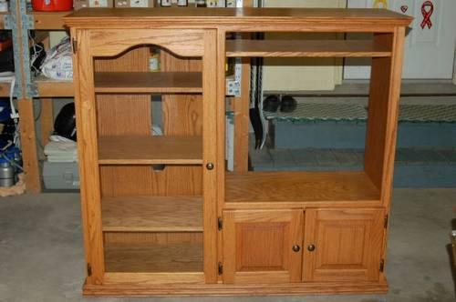 Solid Oak Entertainment Center W/ Side Cabinet U0026 Glass