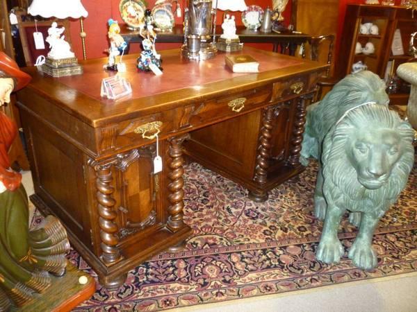 Solid Oak German Barley Twist Carved Antique Desk