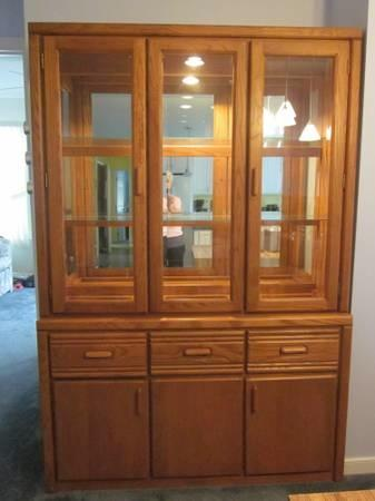 Solid Oak Glass Lighted China Cabinet Hutch For Sale In