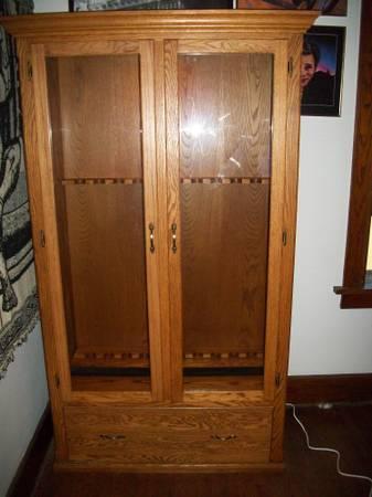 Solid Oak Gun Cabinet - $350