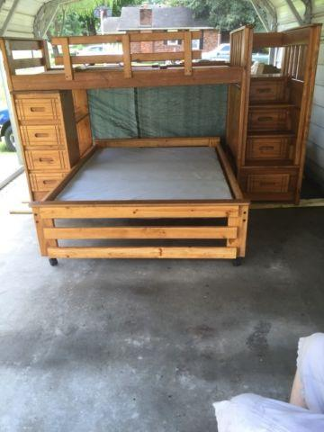 Solid Oak Loftbed with matching full size bed