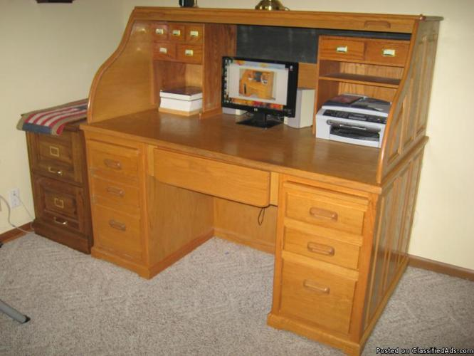 Solid Oak Roll Top Desk