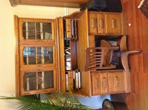 Solid Oak Roll Top Desk With Lawyers Hutch For Sale In