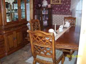 Solid Pine Dining Room Table And Hutch