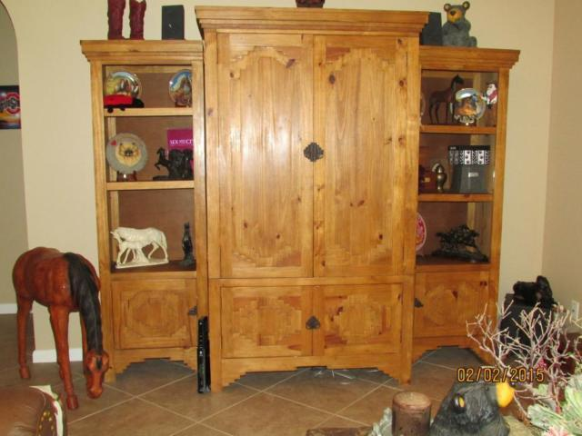Solid Wood 3 Piece Entertainment Center With Bookshelves