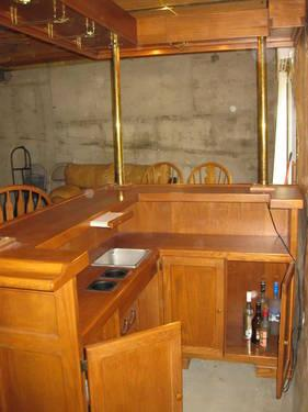 Solid Wood Bar With Canopy And Bar Stools For Sale In