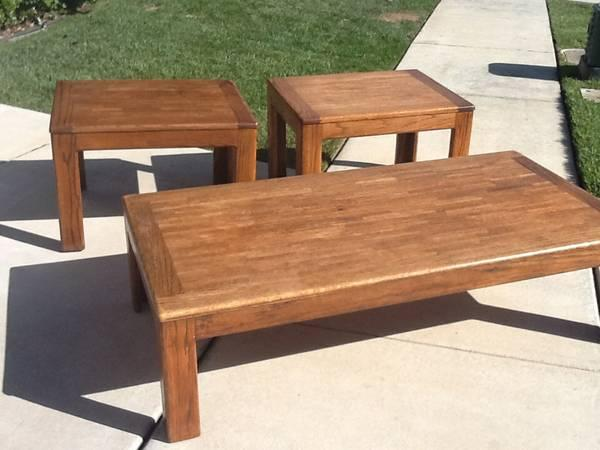 solid wood coffee table and 2 end tables for sale in