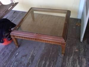 SOLID WOOD COFFEE TABLE W/GLASS TOP - $75 (Iron