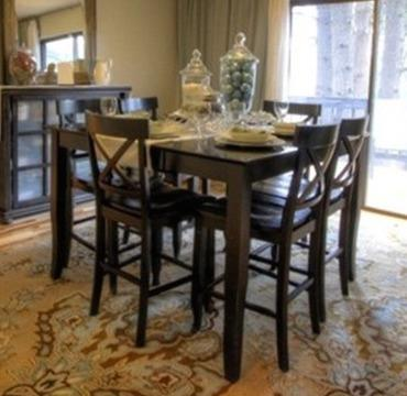 Solid Wood Counter Height Dining Table W/ 6 Chairs