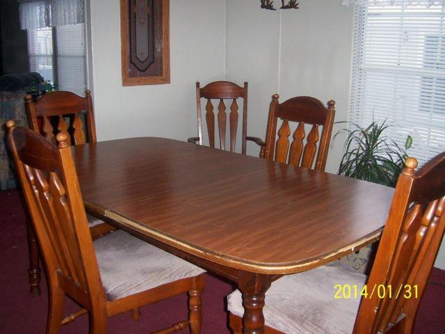 SOLID WOOD DINING TABLE WITH 6 CHAIRS For Sale In Eaton