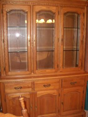 Solid Wood Diningroom Hutch And Table Chairs Antique