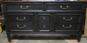 Solid Wood Distressed Black 8 Drawer Dresser With Dark