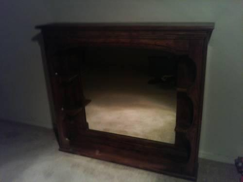 Solid Wood Faux Fireplace With Mantle Rustic Look For Sale