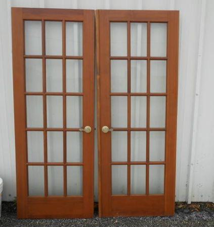 Solid wood french doors set 60 wide x 80 long make offer for Wooden french doors for sale